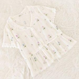 Vintage Lace & Floral Embroidered Cotton Blouse